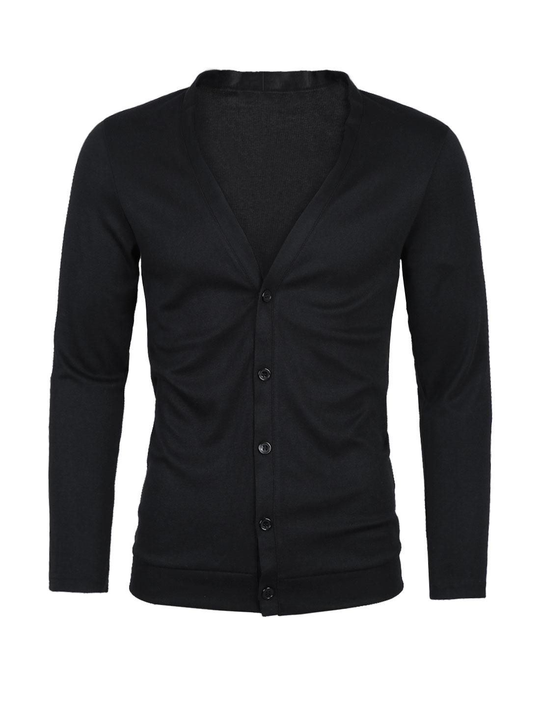 Men Deep V Neck Long Sleeves Button Down Slim Fit Cardigan Black S