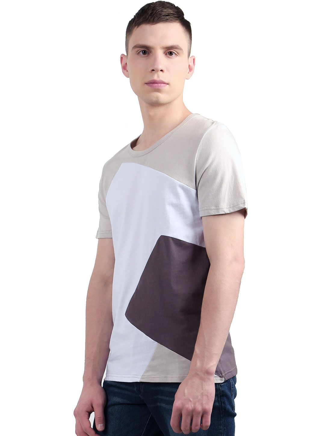 Men Crew Neck Color Block Slim Fit Short Sleeves T-Shirt White S