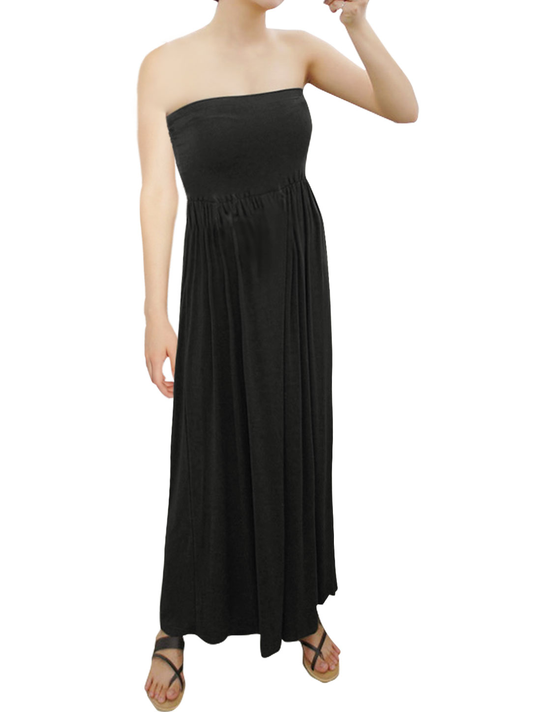 Women Strapless Ruched Design Wide Legs Jumpsuit Black S