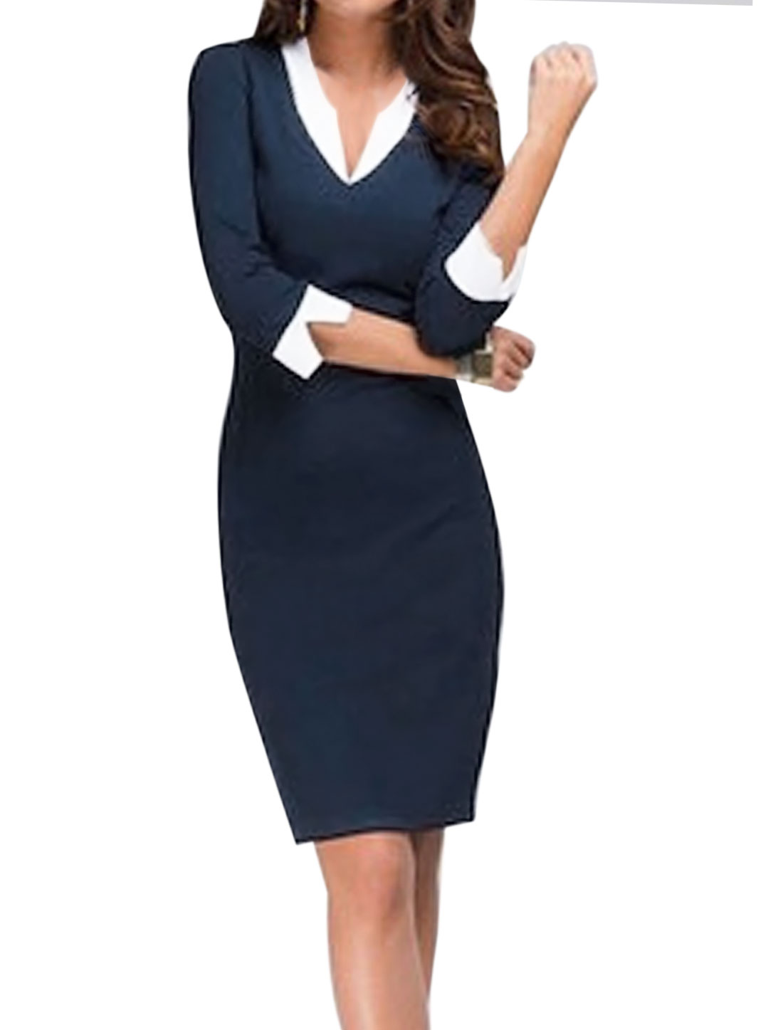 Women 3/4 Sleeves Layered Contrast Color Pencil Dress Blue L