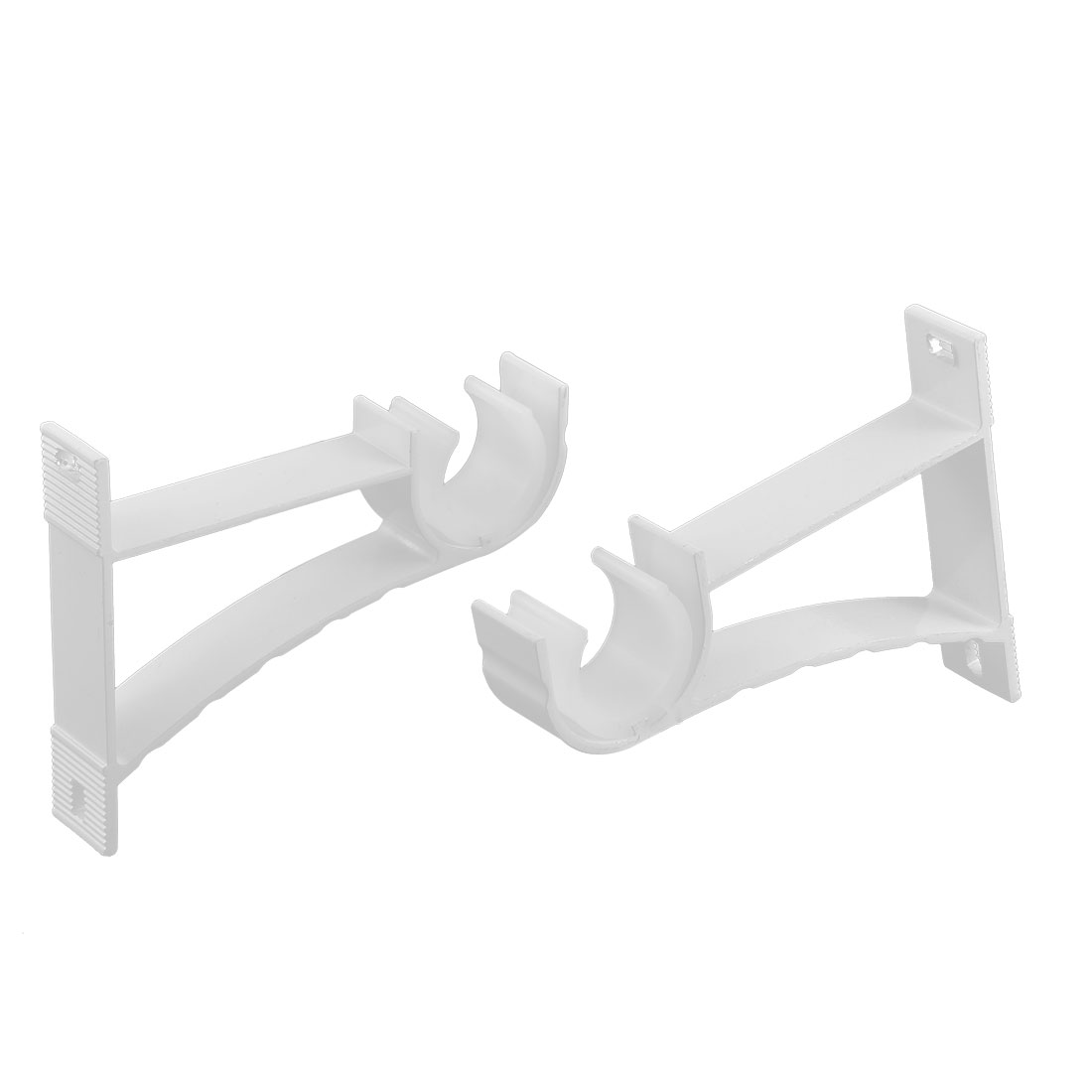 Drapery Curtain Wall Mount Pole Rod Bracket White 22mm Dia 6pcs