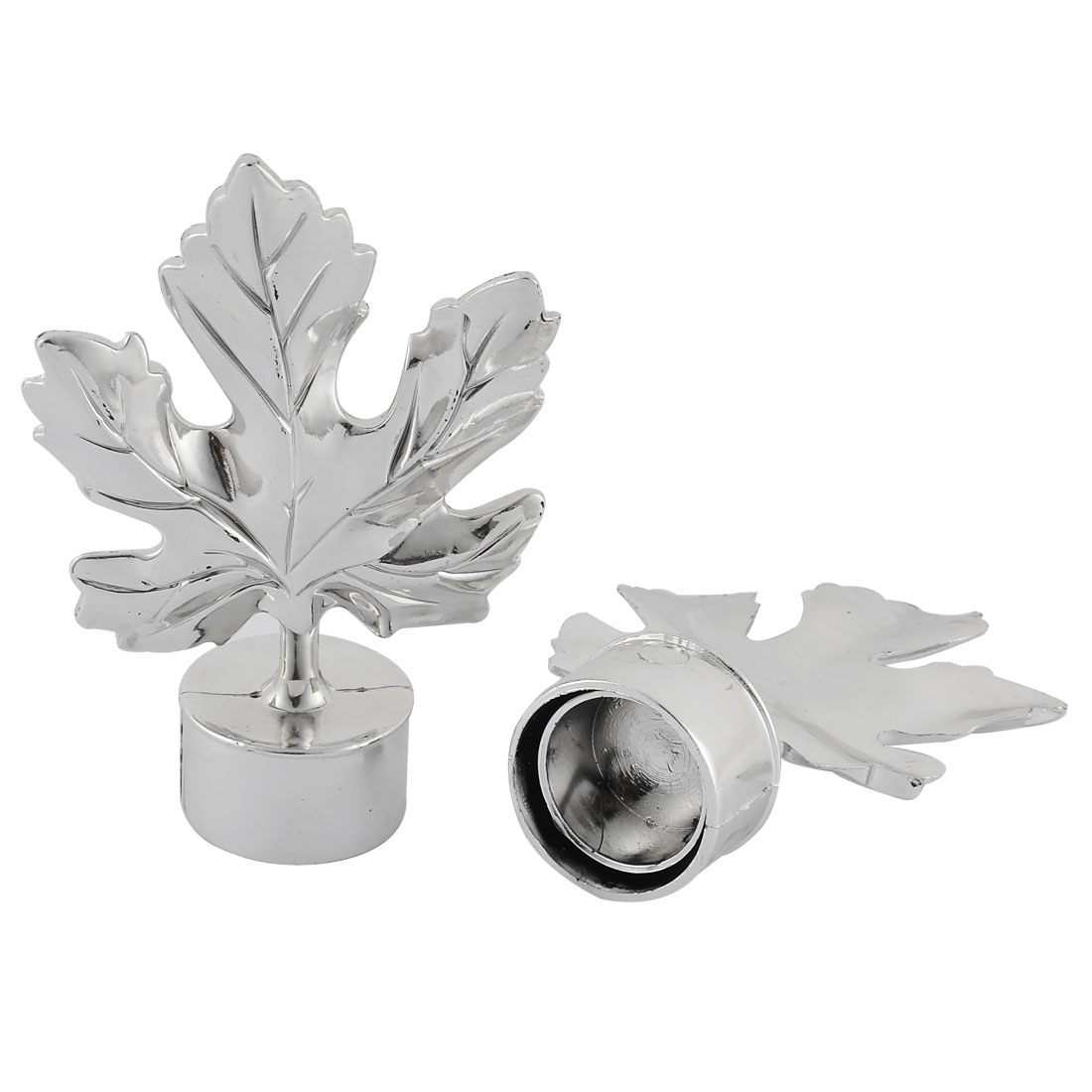 Plastic Leaf Shaped Curtain Pole Decor Decorative End Cap Silver Tone 3.4cm Inner Diameter 2pcs