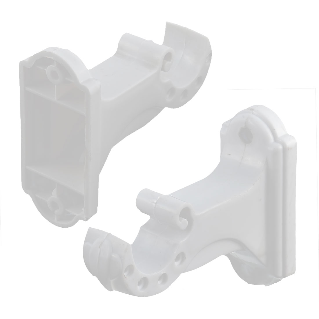 Plastic Single Groove Wall Mount Curtain Drapery Pole Rod Bracket Hook White 2pcs
