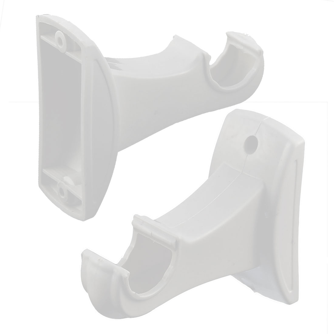 Plastic Hollow Wall Mount Single Groove Drapery Curtain Pole Bracket White 2pcs