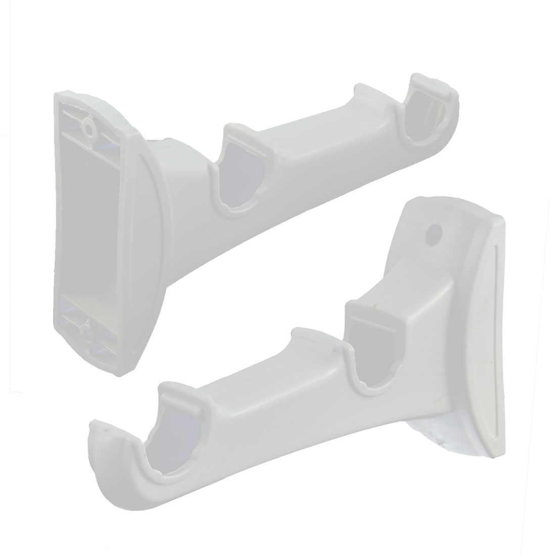 Plastic Double Grooves Wall Mount Curtain Rod Bracket White 2pcs