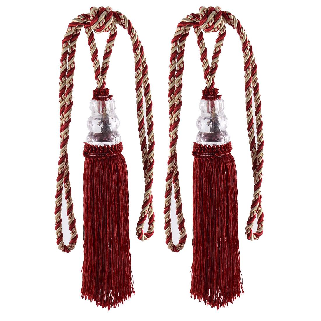 Home Plastic Bead Drapery Curtain Decoration Tassel Fringe Detail Tieback Rope Cord Dark Red Pair