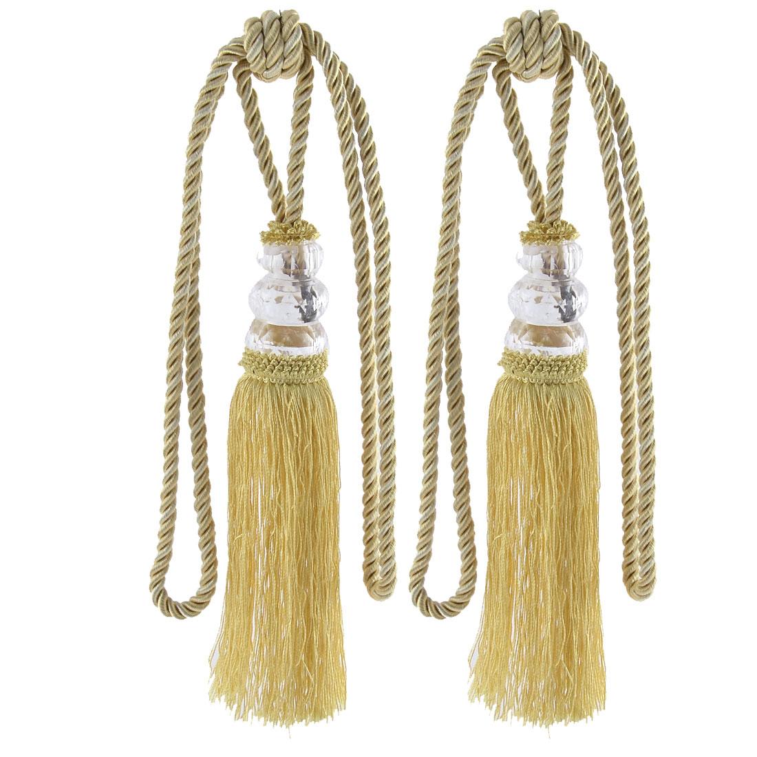 Home Plastic Bead Drapery Curtain Decoration Tassel Fringe Detail Tieback Rope Cord Golden Yellow Pair