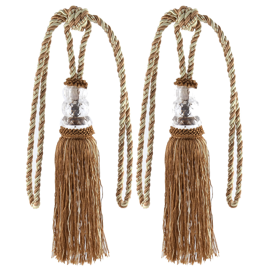 Home Plastic Bead Drapery Curtain Decoration Tassel Fringe Detail Tieback Rope Cord Coffee Color Pair