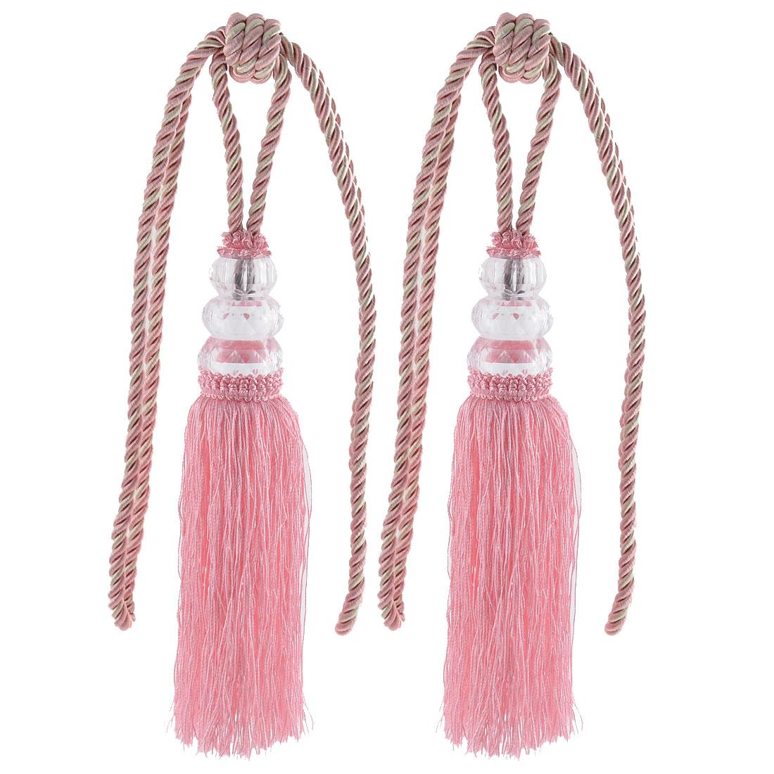 Home Plastic Bead Drapery Curtain Decoration Tassel Fringe Detail Tieback Rope Cord Pink Pair