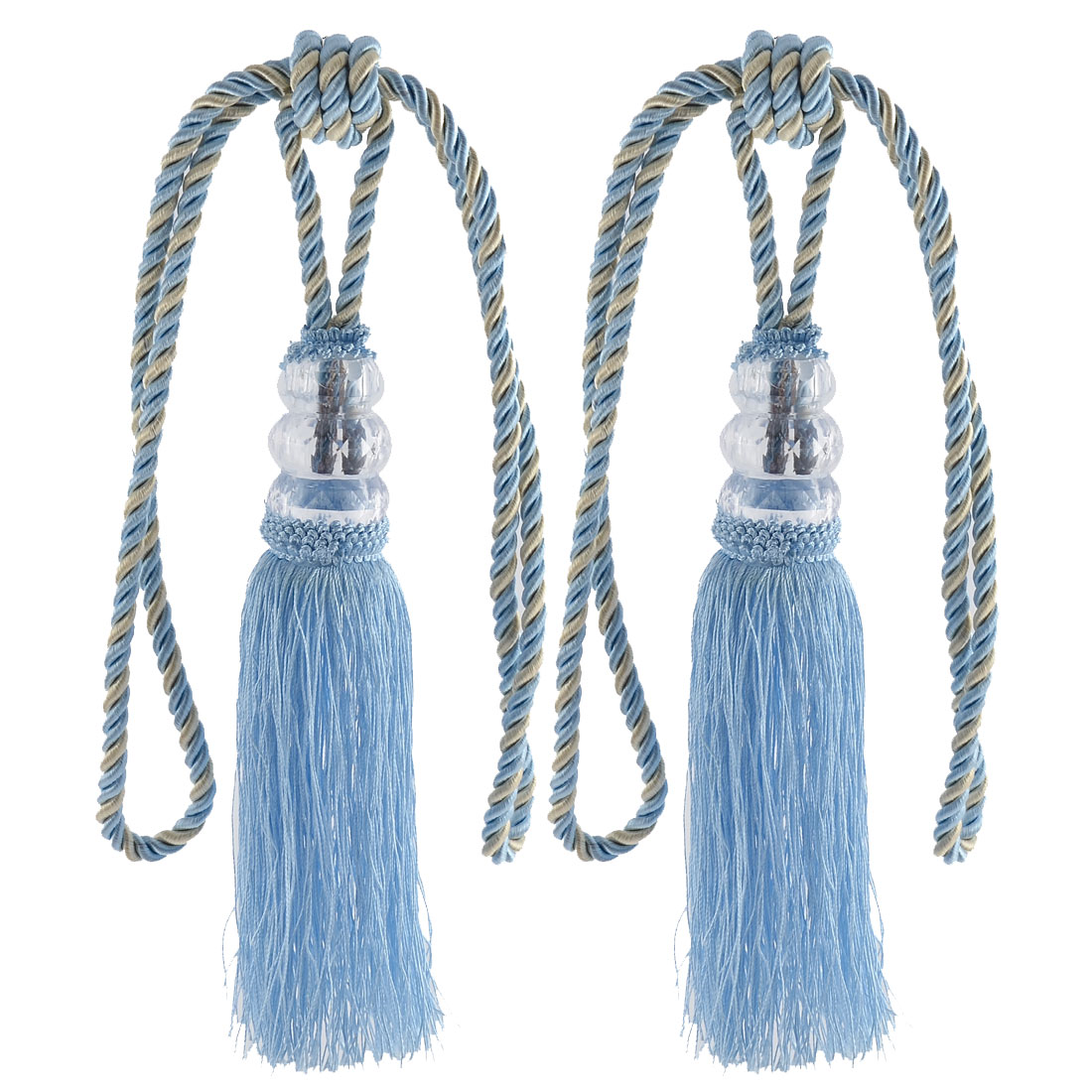 Home Plastic Bead Drapery Curtain Decoration Tassel Fringe Detail Tieback Rope Cord Blue Pair