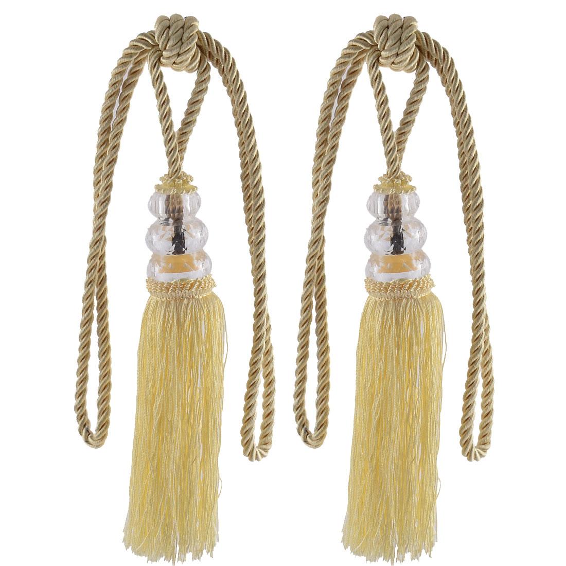 Home Plastic Bead Drapery Curtain Decoration Tassel Fringe Detail Tieback Rope Cord Yellow Pair