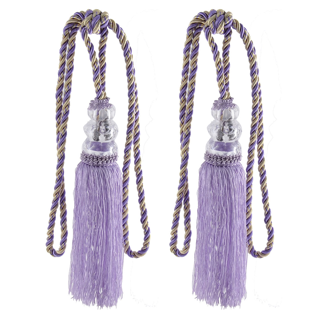Home Plastic Bead Drapery Curtain Decoration Tassel Fringe Detail Tieback Rope Cord Dark Purple Pair