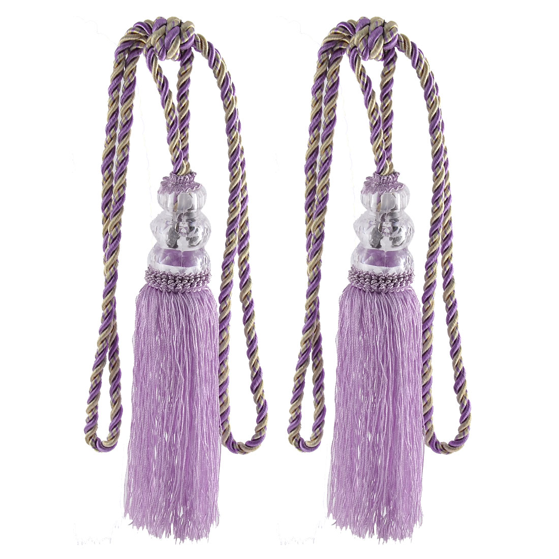 Home Plastic Bead Drapery Curtain Decoration Tassel Fringe Detail Tieback Rope Cord Light Purple Pair