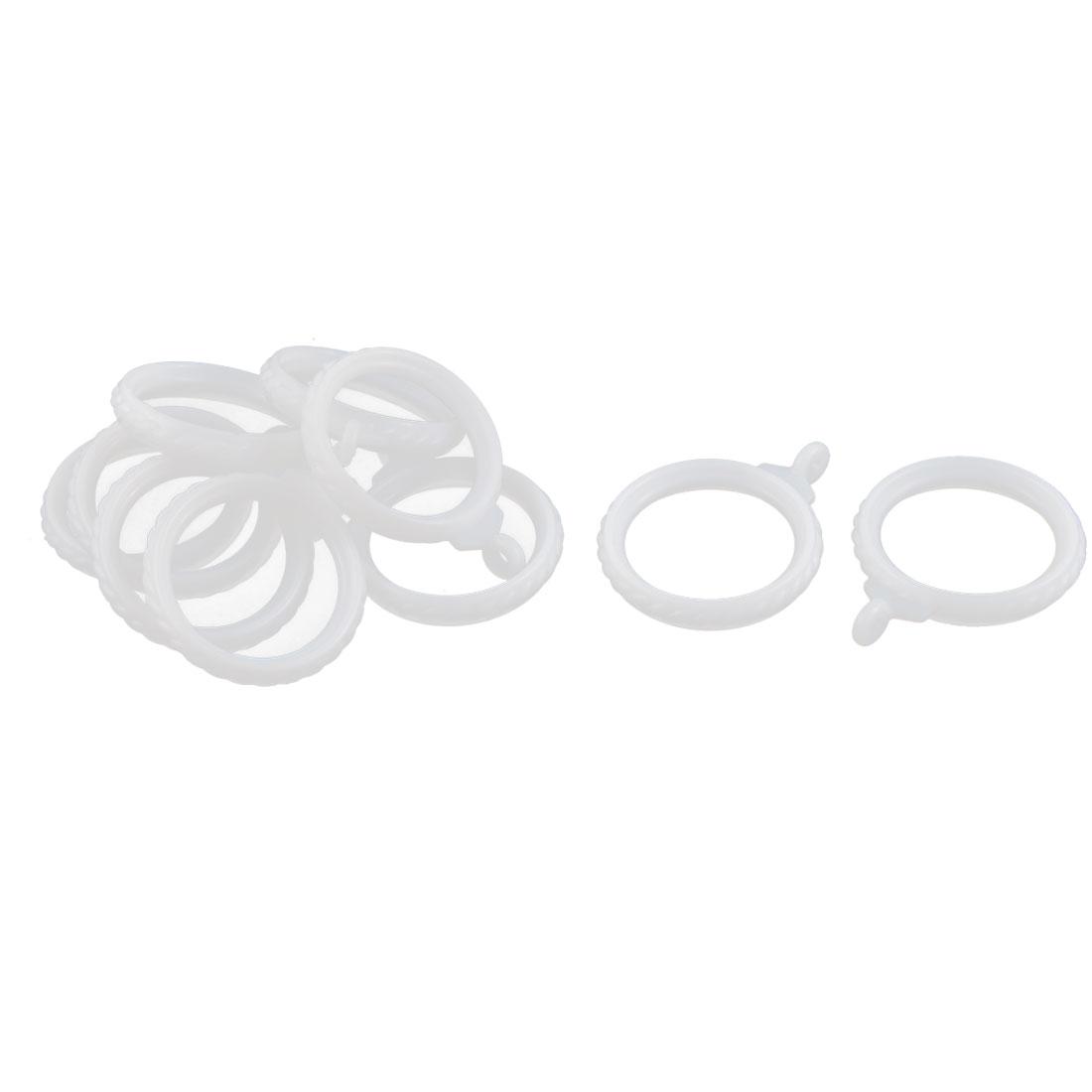 Bathroom Bedroom Plastic Embossed Shower Curtain Drapery Ring Hooks White 3.5cm Dia 10pcs