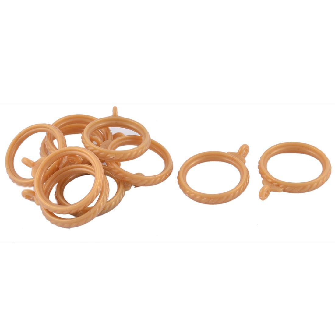 Bathroom Bedroom Plastic Embossed Shower Curtain Drapery Ring Hooks Golden Yellow 3.5cm Dia 10pcs