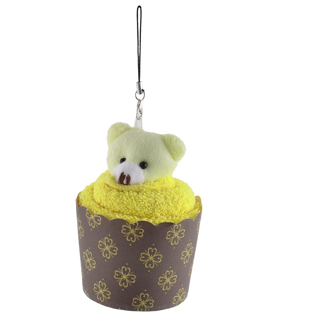 Toy Bear Decor Cupcake Shaped Towel Washrag Facecloth Gift Yellow