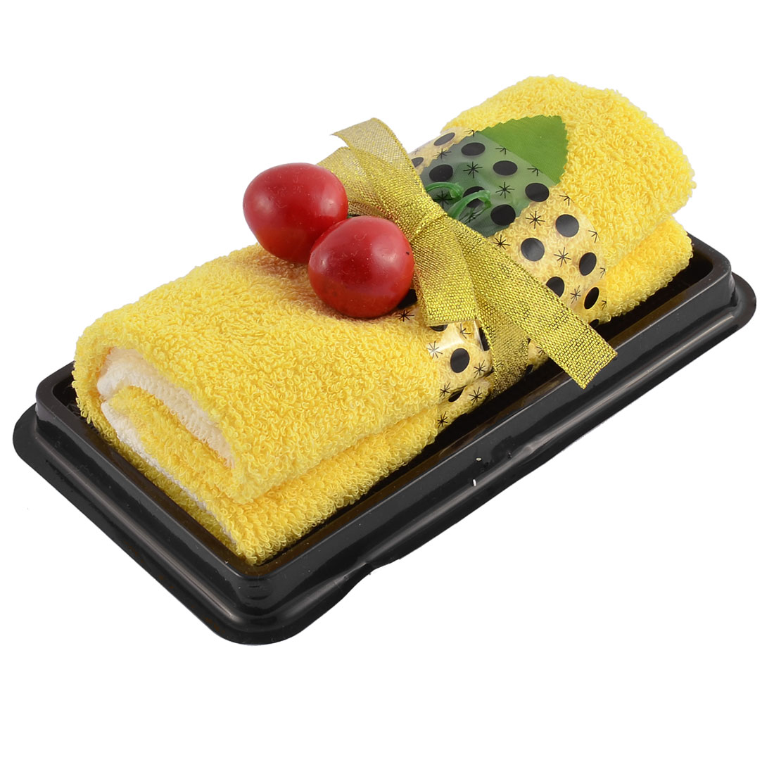 Roll Cake Towel Fake Cherry Decor Detail Washrag Washcloth Facecloth Gift Yellow