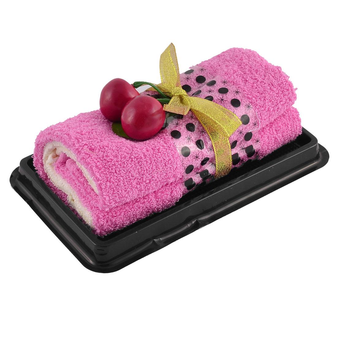 Roll Cake Towel Fake Cherry Decor Detail Washrag Washcloth Facecloth Gift Fuchsia