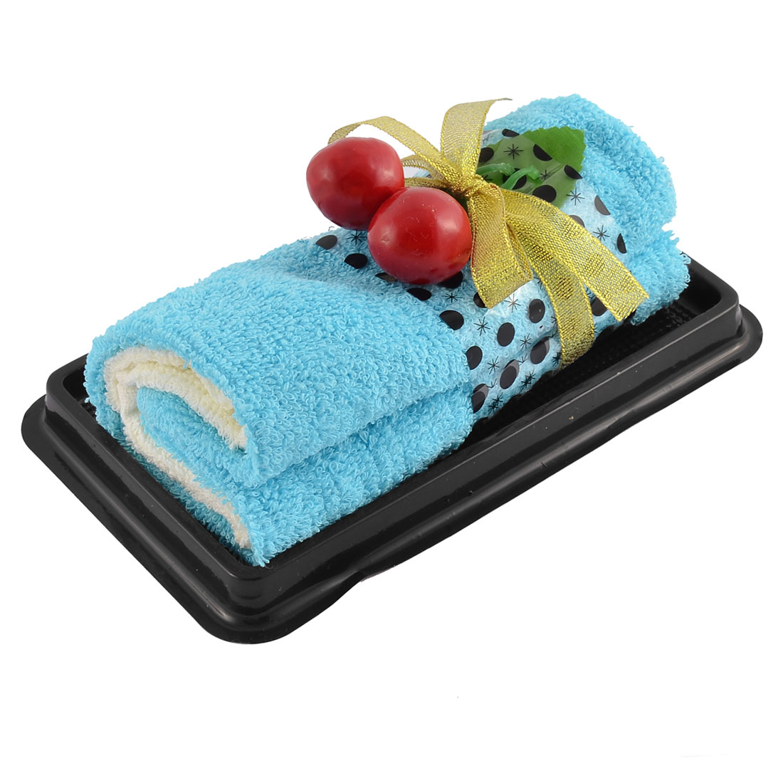 Roll Cake Towel Fake Cherry Decor Detail Washrag Washcloth Facecloth Gift Blue