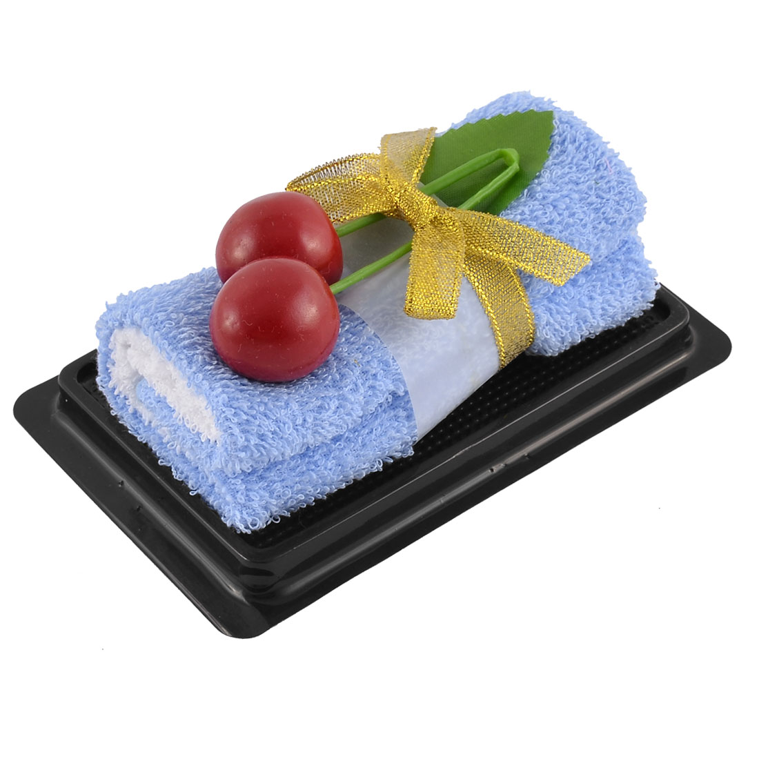 Simulated Cherry Leaf Detail Roll Cake Towel Facecloth Washcloth Decor Gift Blue