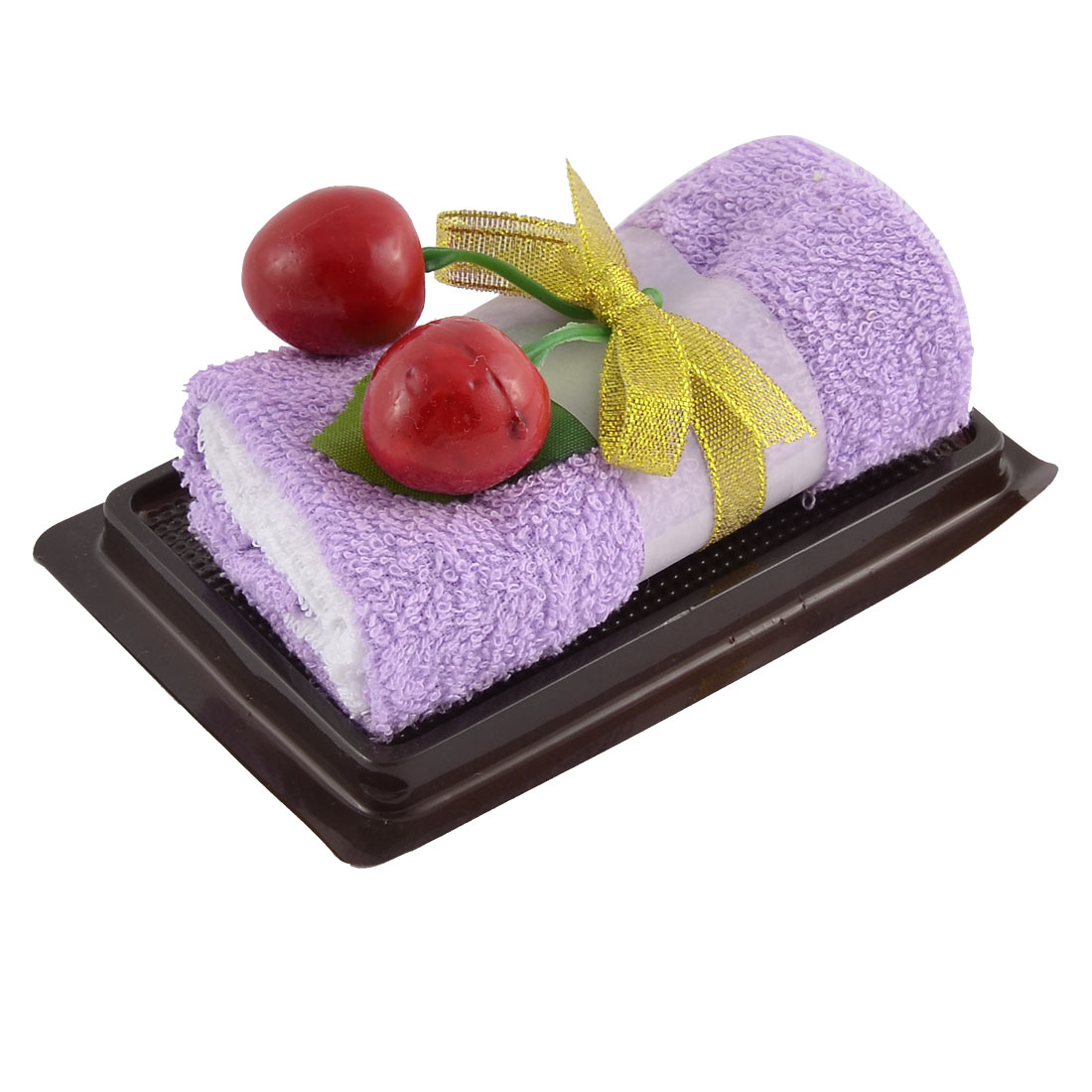 Simulated Cherry Leaf Detail Roll Cake Towel Facecloth Washcloth Decor Gift Purple