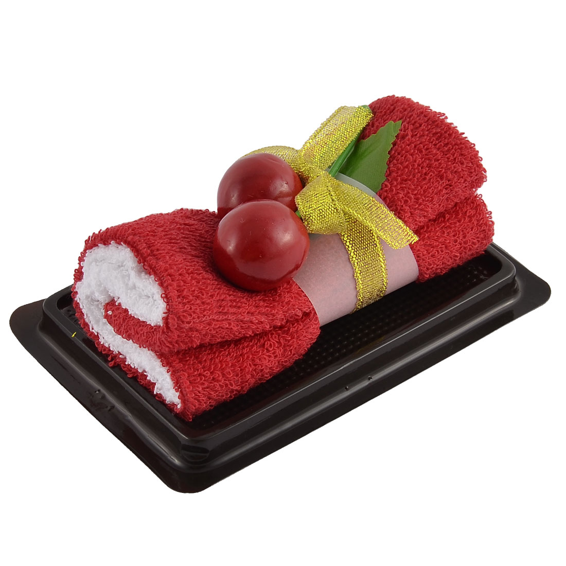 Simulated Cherry Leaf Detail Roll Cake Towel Facecloth Washcloth Decor Gift Red