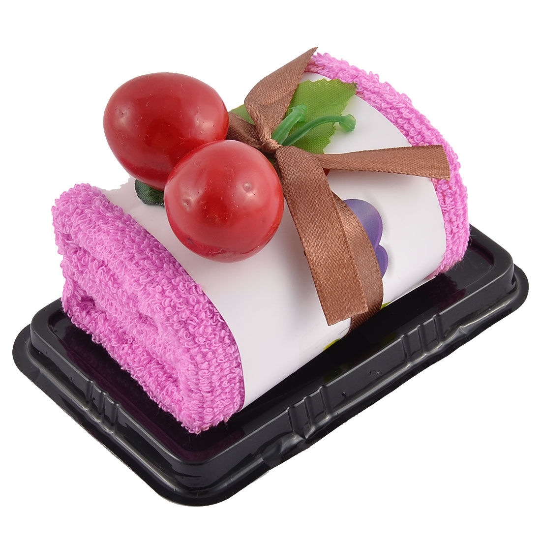 Plastic Simulated Cherry Decor Square Roll Cake Towel Gift Ornament Fuchsia