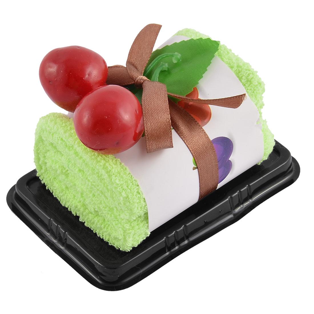 Plastic Simulated Cherry Decor Square Roll Cake Towel Gift Ornament Green