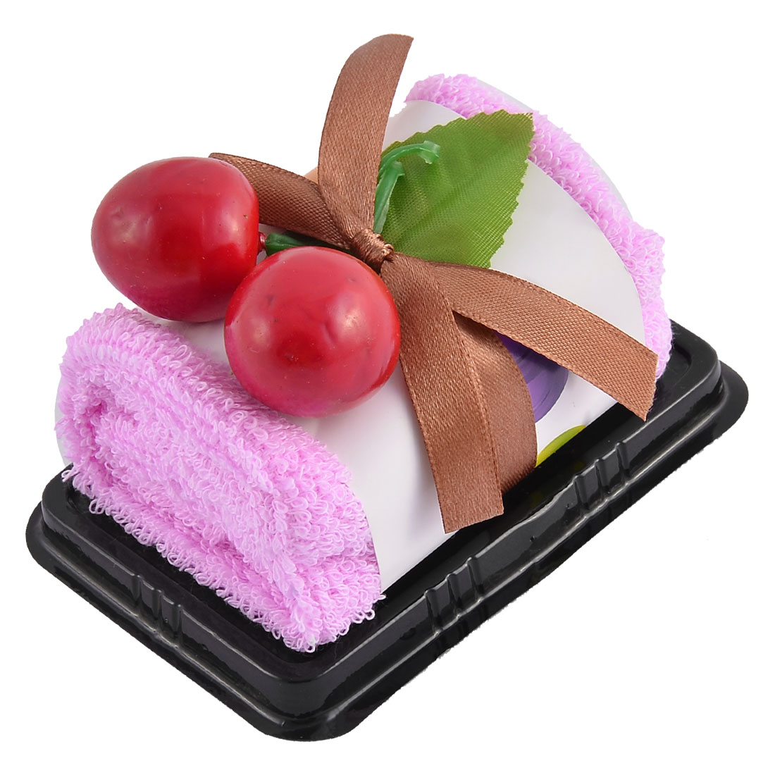 Plastic Simulated Cherry Decor Square Roll Cake Towel Gift Ornament Pink