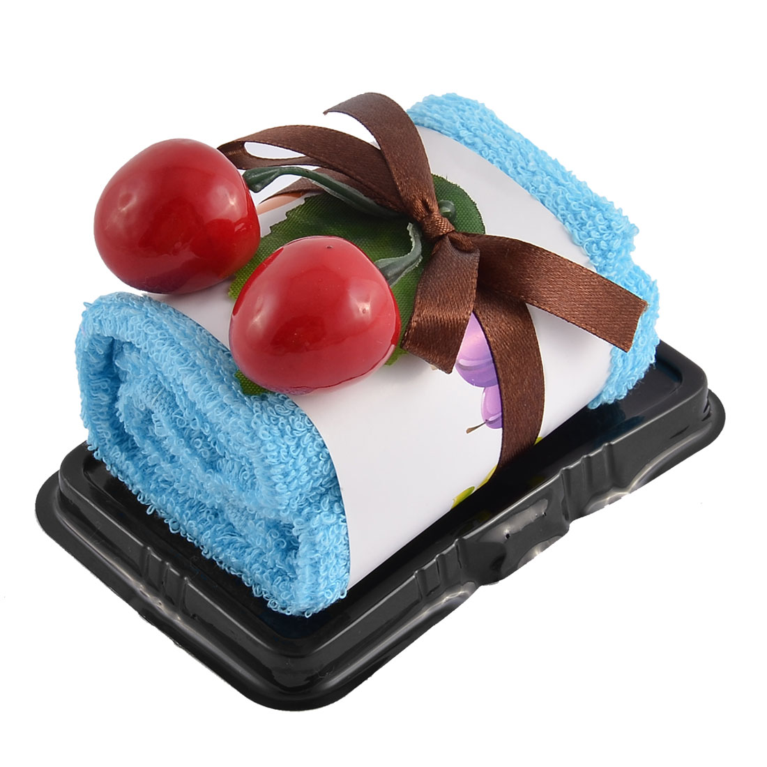 Plastic Simulated Cherry Decor Square Roll Cake Towel Gift Ornament Blue