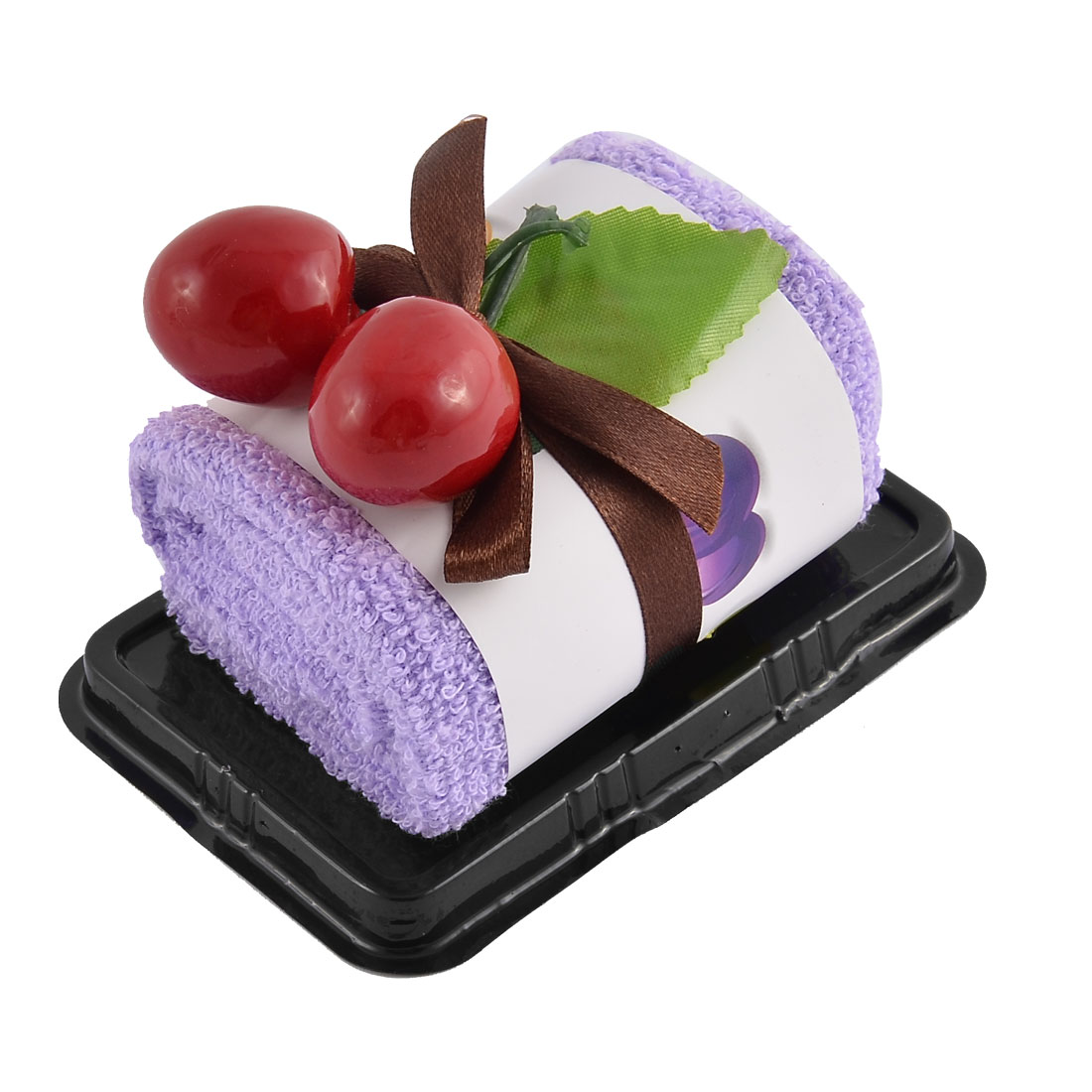 Plastic Simulated Cherry Decor Square Roll Cake Towel Gift Ornament Purple