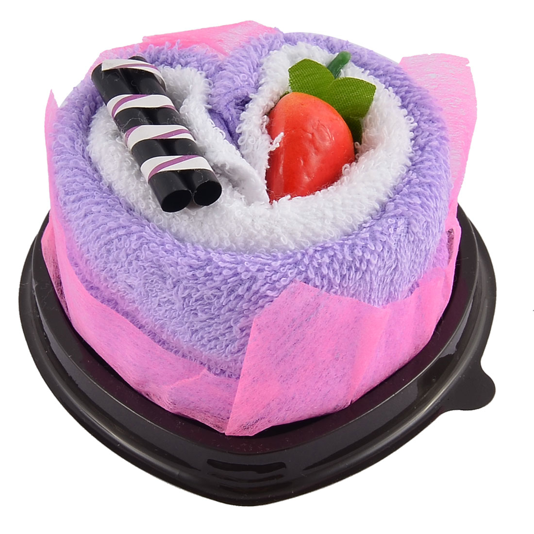 Simulated Strawberry Chocolate Bar Detail Heart Shape Cupcake Towel Washcloth Decor Gift Purple