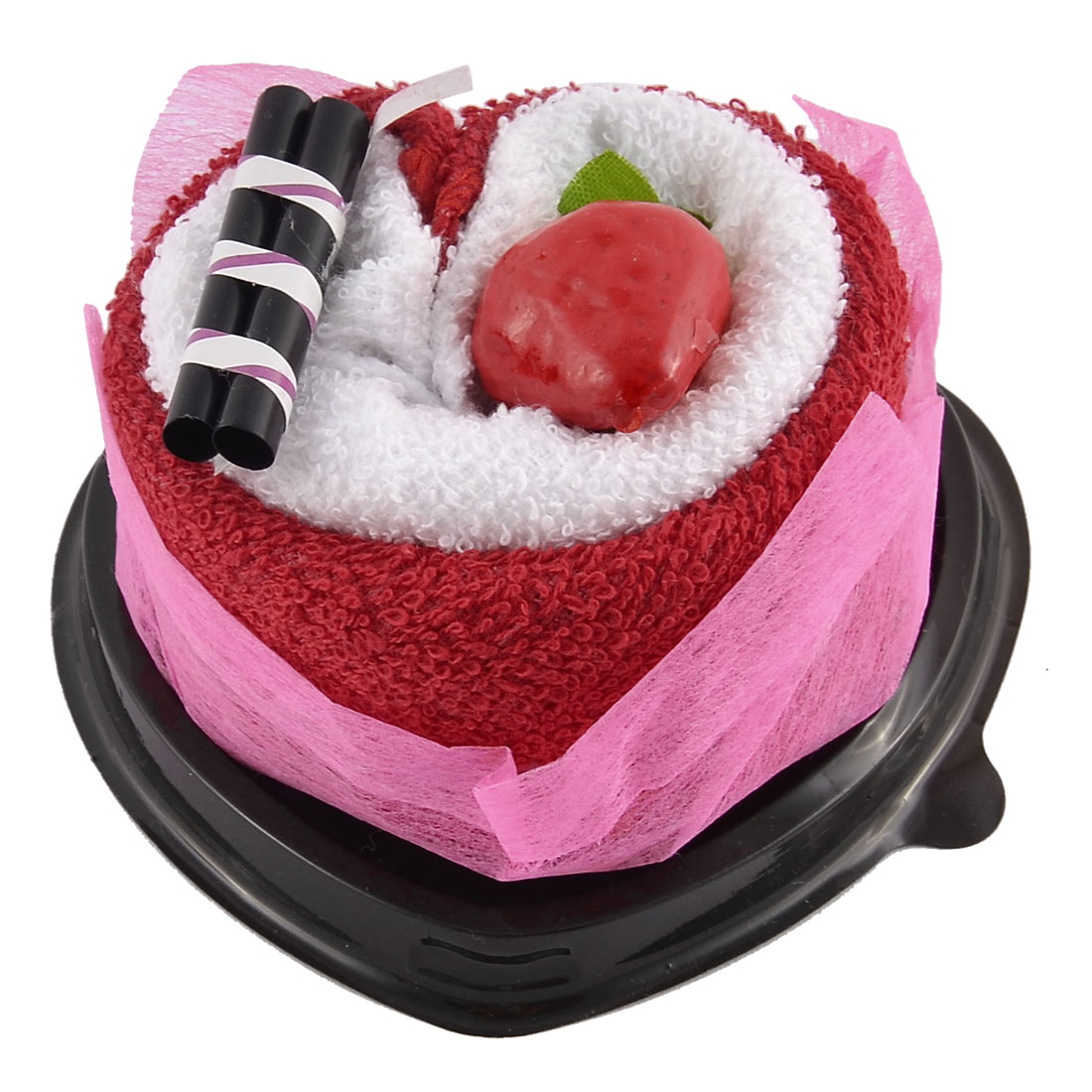 Simulated Strawberry Chocolate Bar Detail Heart Shape Cupcake Towel Washcloth Decor Gift Red