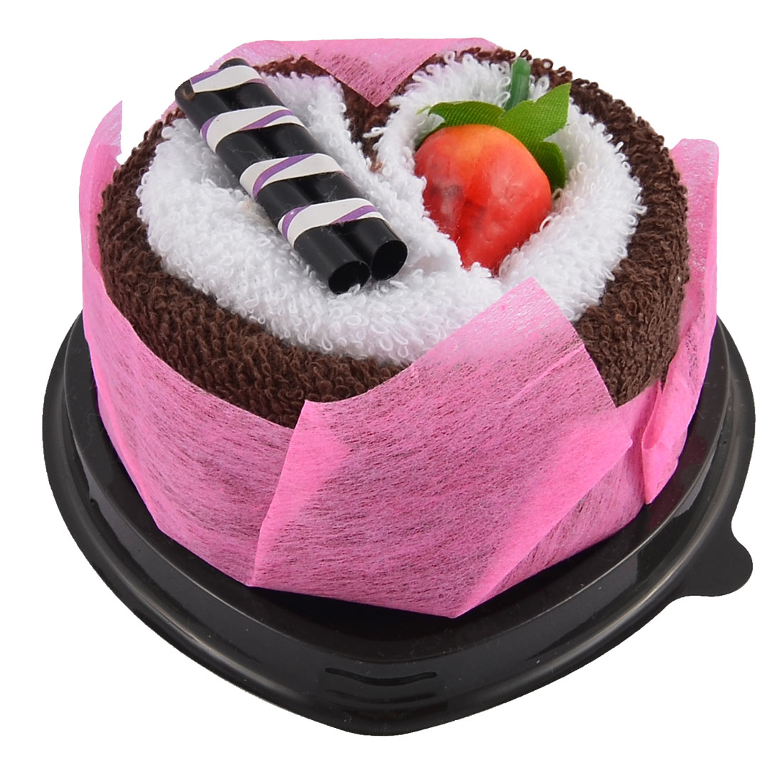 Simulated Strawberry Chocolate Bar Detail Heart Shape Cupcake Towel Washcloth Decor Gift Coffee Color