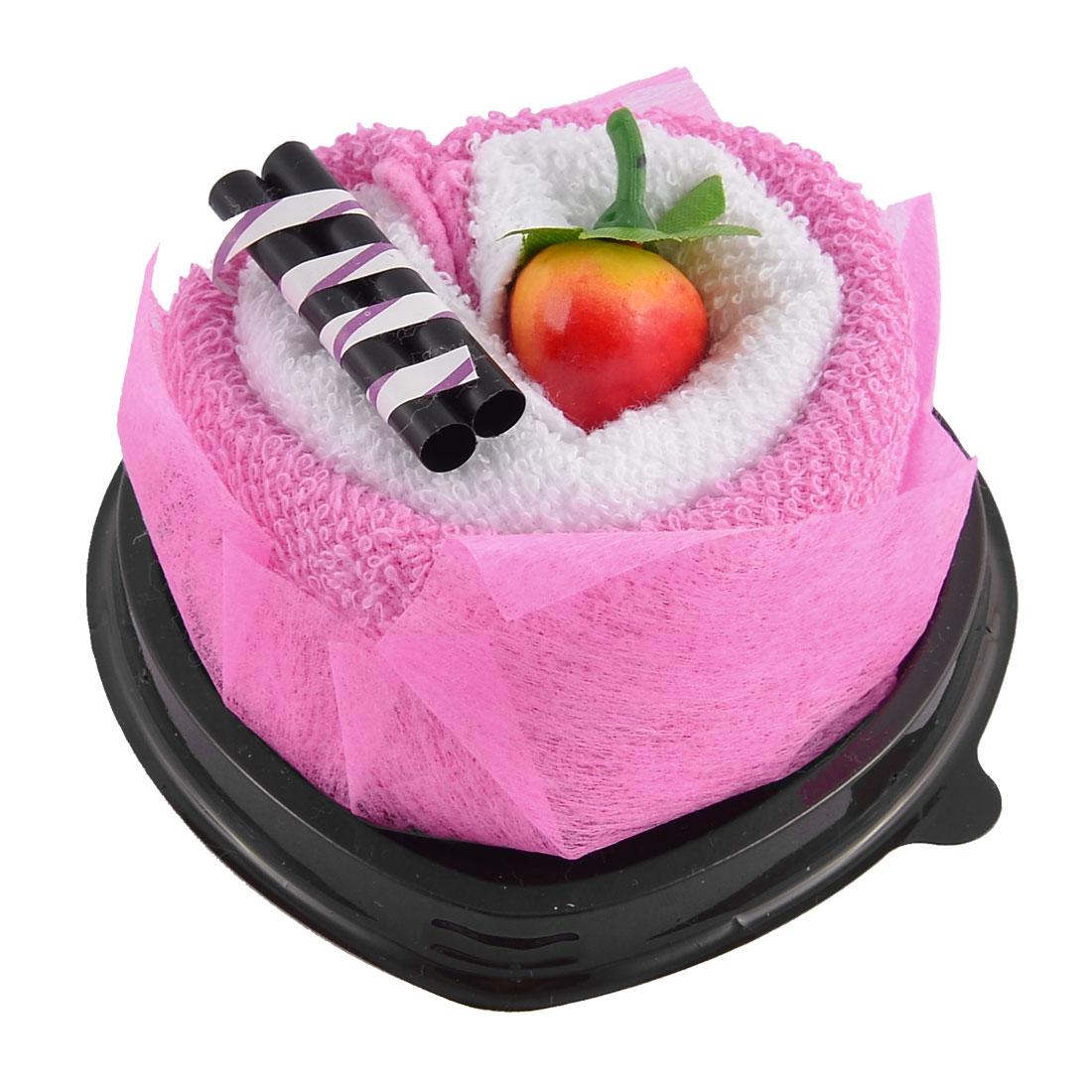 Simulated Strawberry Chocolate Bar Detail Heart Shape Cupcake Towel Washcloth Decor Gift Fuchsia