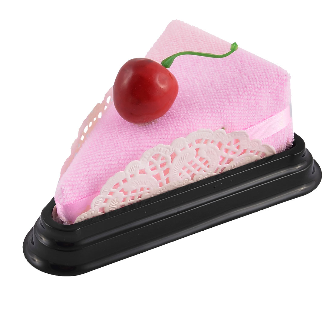 Simulated Cherry Detail Triangular Cake Sandwich Towel Washcloth Decor Gift Pink