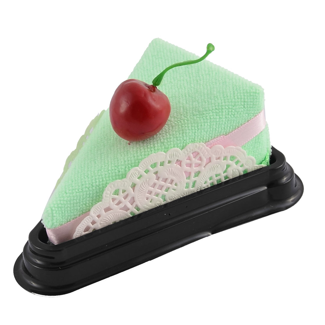 Simulated Cherry Detail Triangular Cake Sandwich Towel Washcloth Decor Gift Green