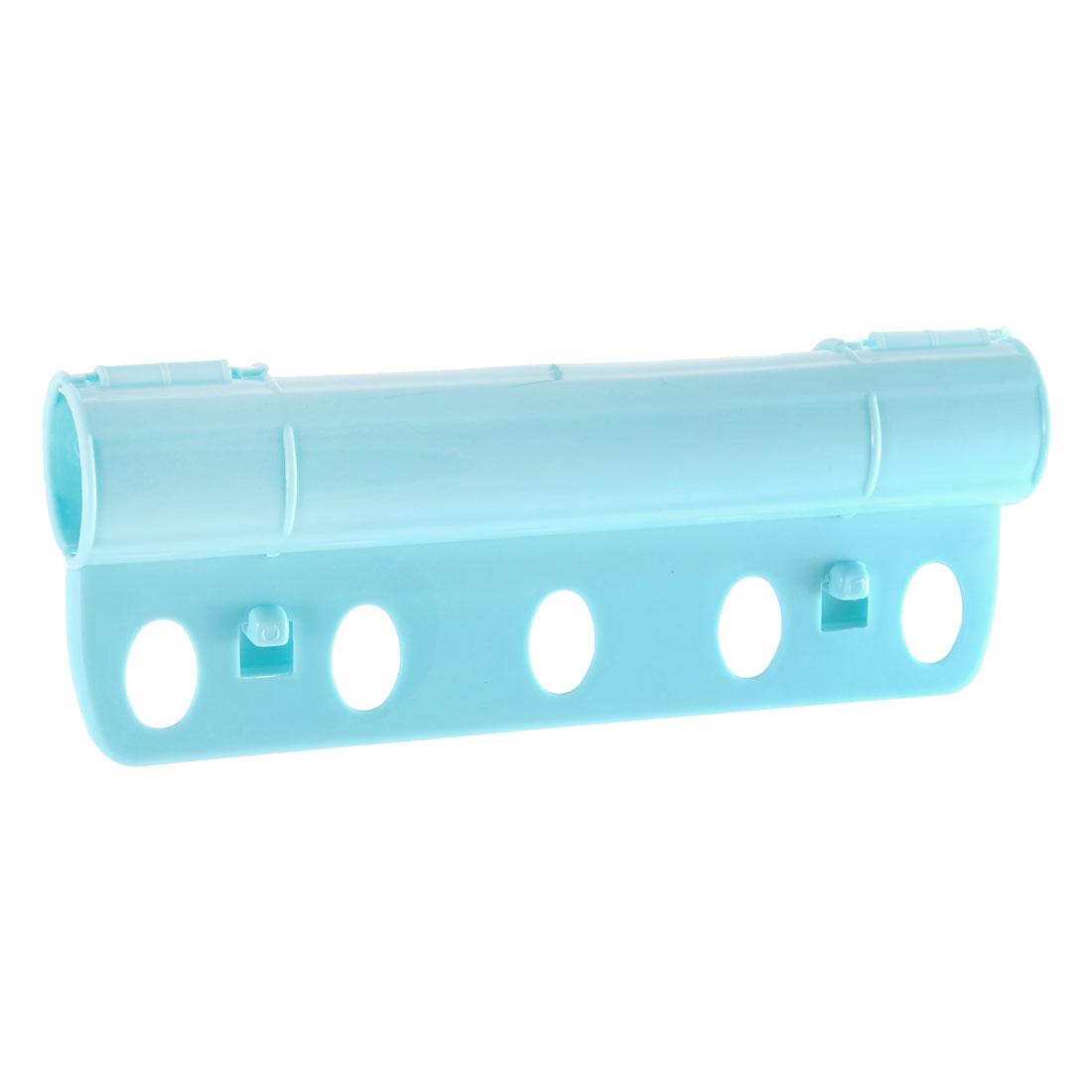 Home 5 Holes Plastic Foldable Rack Bar Fixed Windproof Clothes Hanger Lock Blue