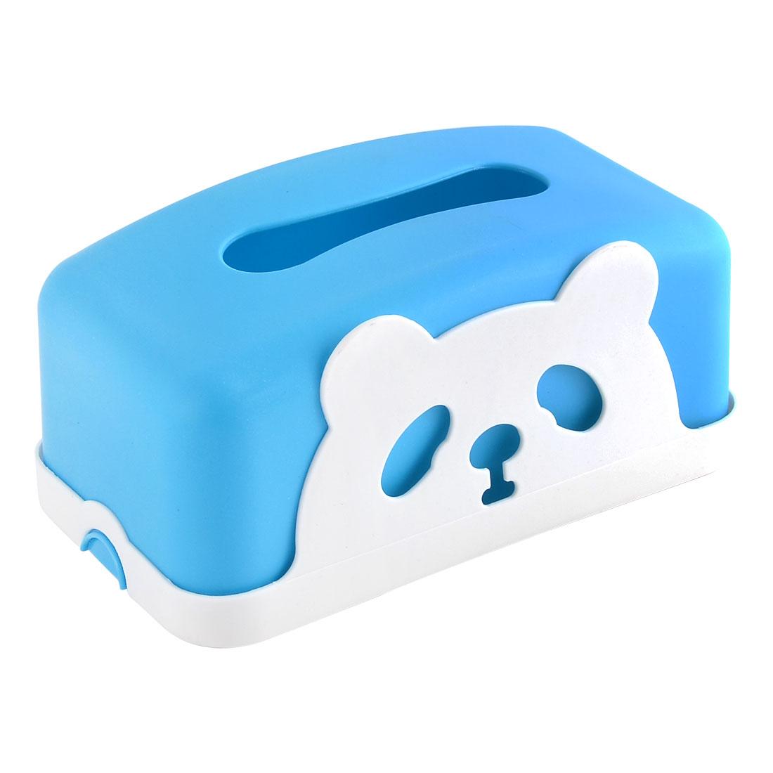 Home Office Plastic Panda Pattern Napkin Paper Tissue Box Case Container Blue