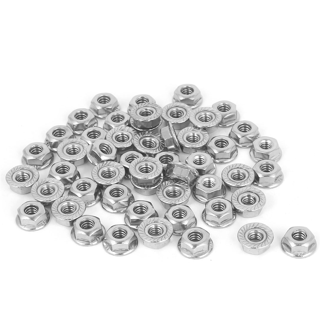 "3/16""-24 304 Stainless Steel Hex Serrated Flange Lock Screw Nuts 50 Pcs"