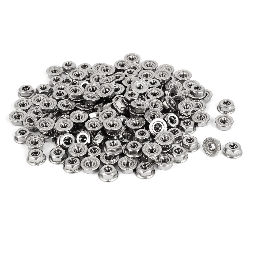 "3/16""-24 304 Stainless Steel Serrated Flange Hex Machine Screw Lock Nuts 200pcs"