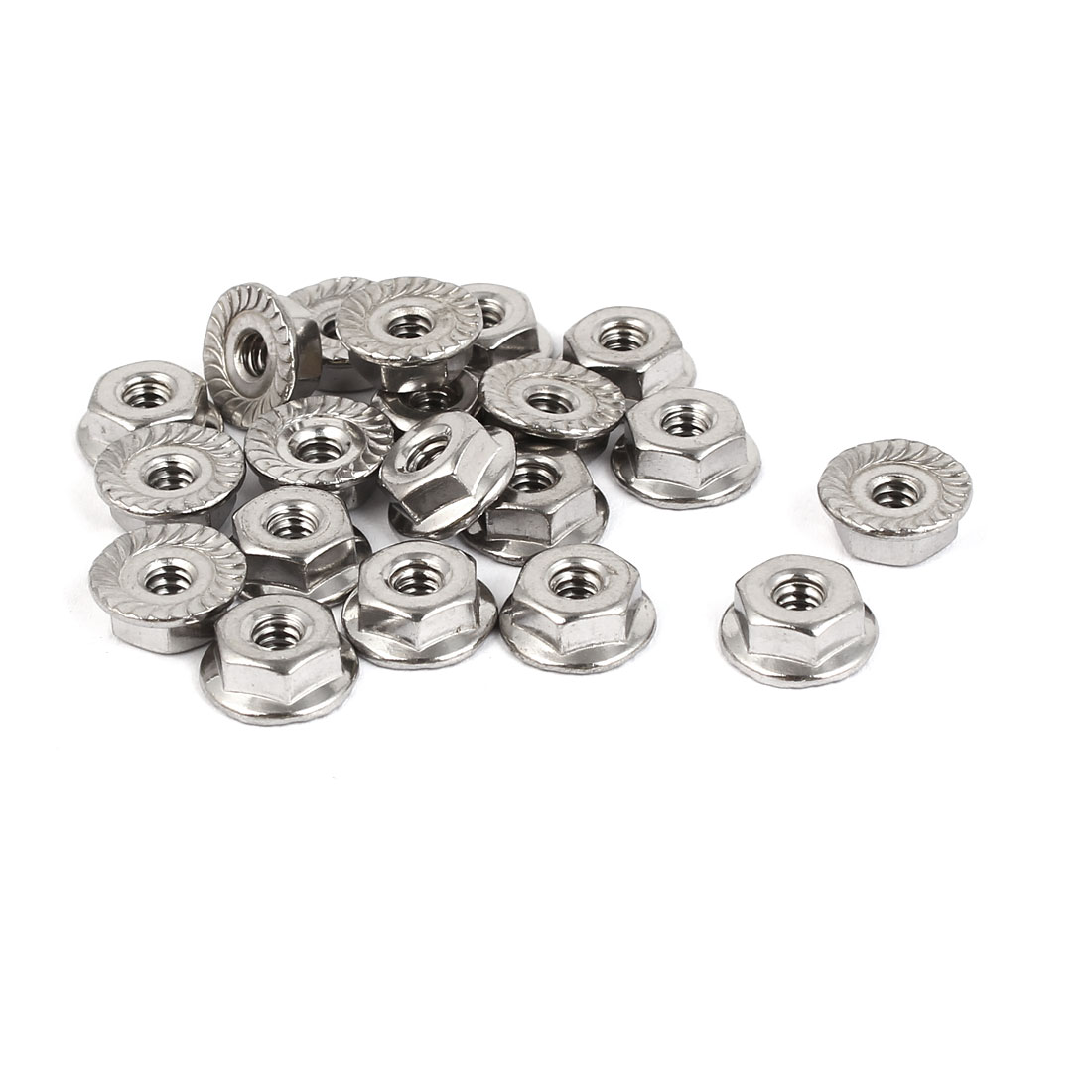 6#-32 304 Stainless Steel Serrated Flange Hex Machine Screw Lock Nuts 20pcs