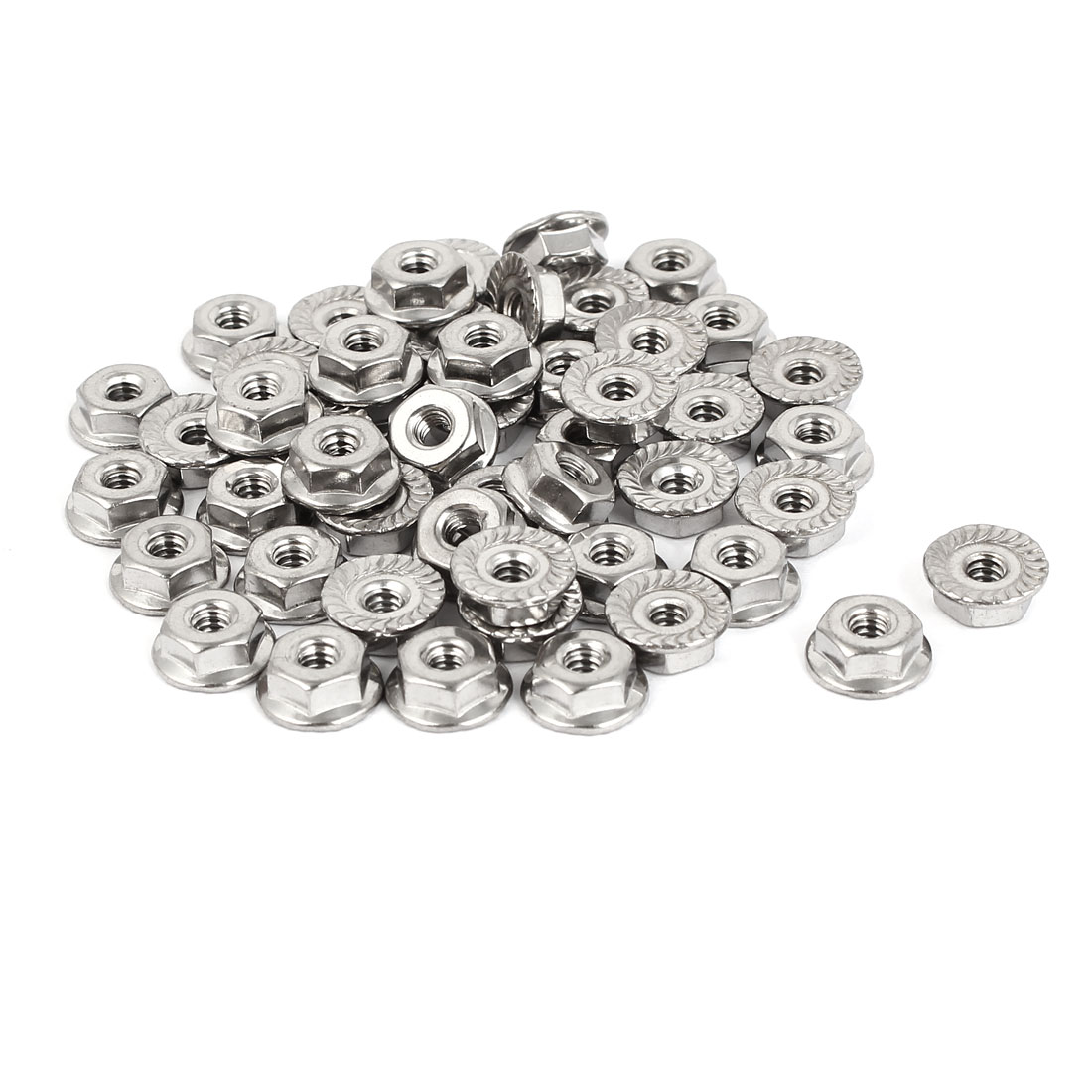 6#-32 304 Stainless Steel Serrated Flange Hex Machine Screw Lock Nuts 50pcs