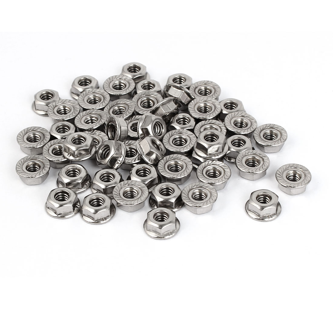 10#-24 304 Stainless Steel Serrated Flange Hex Machine Screw Lock Nuts 50pcs