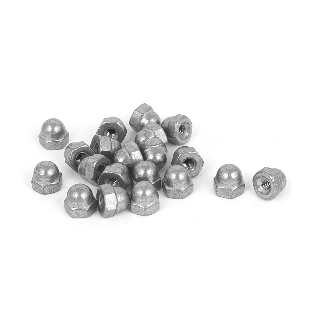 6#-32 304 Stainless Steel Dome Head Cap Hexagon Nuts Silver Tone 20 Pcs
