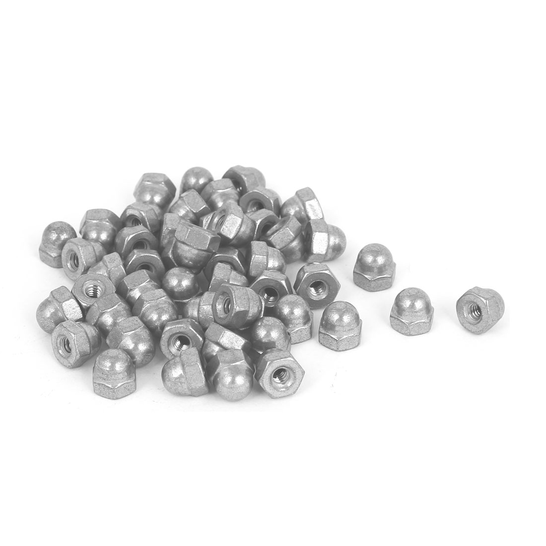 6#-32 304 Stainless Steel Dome Head Cap Hexagon Nuts Silver Tone 50 Pcs