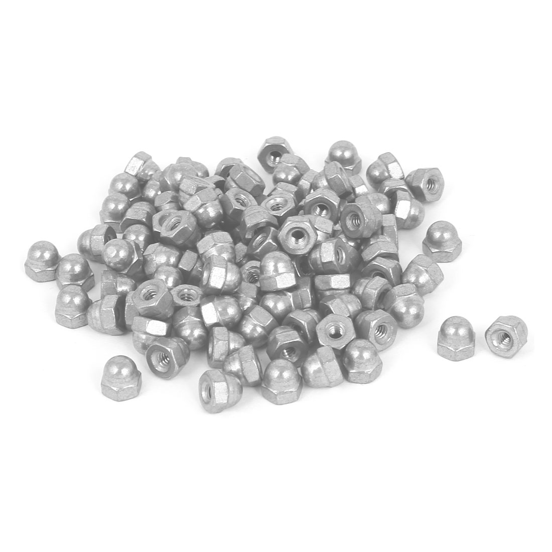 6#-32 304 Stainless Steel Dome Head Cap Hexagon Nuts Silver Tone 100 Pcs