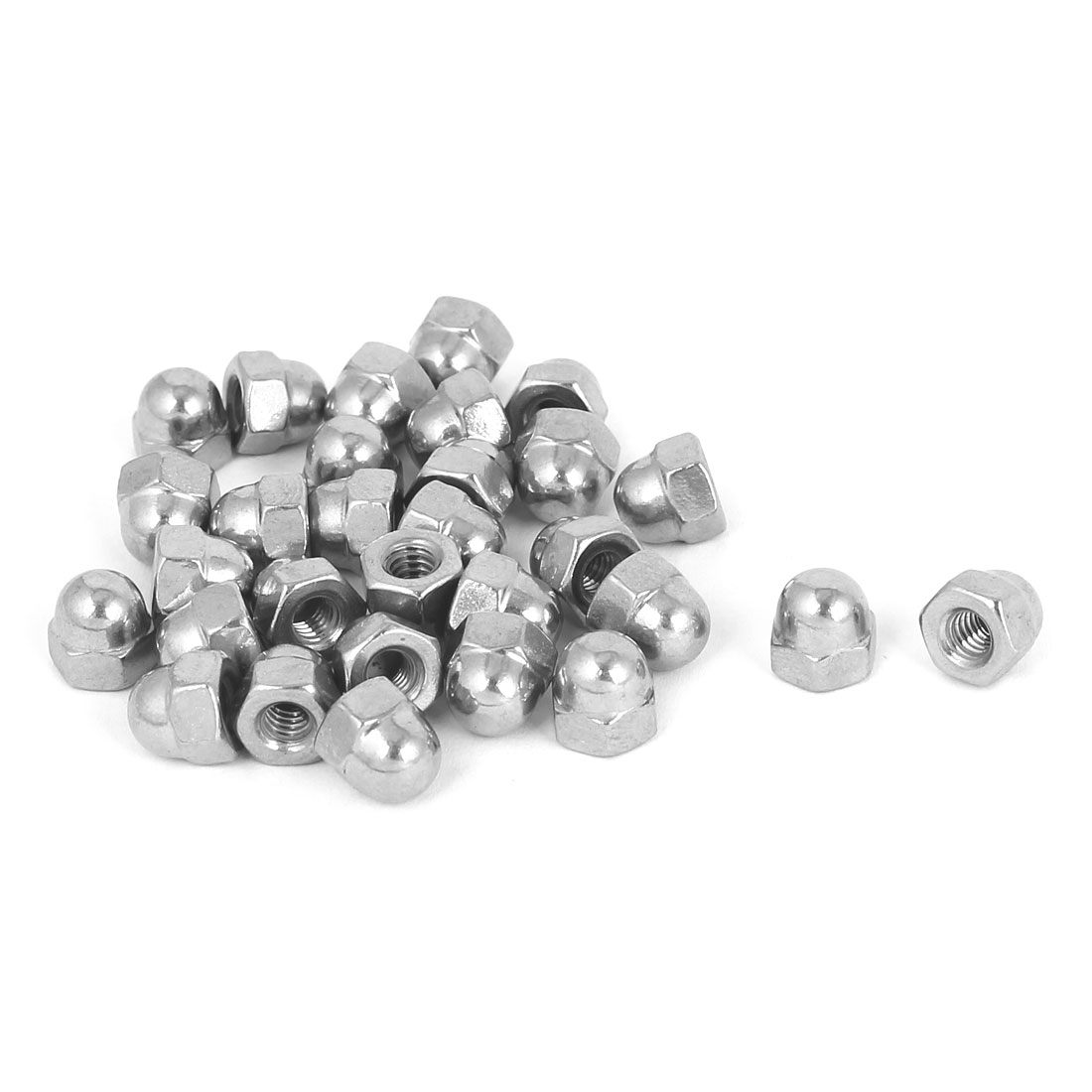 8#-32 304 Stainless Steel Dome Head Cap Hexagon Nuts Silver Tone 30pcs
