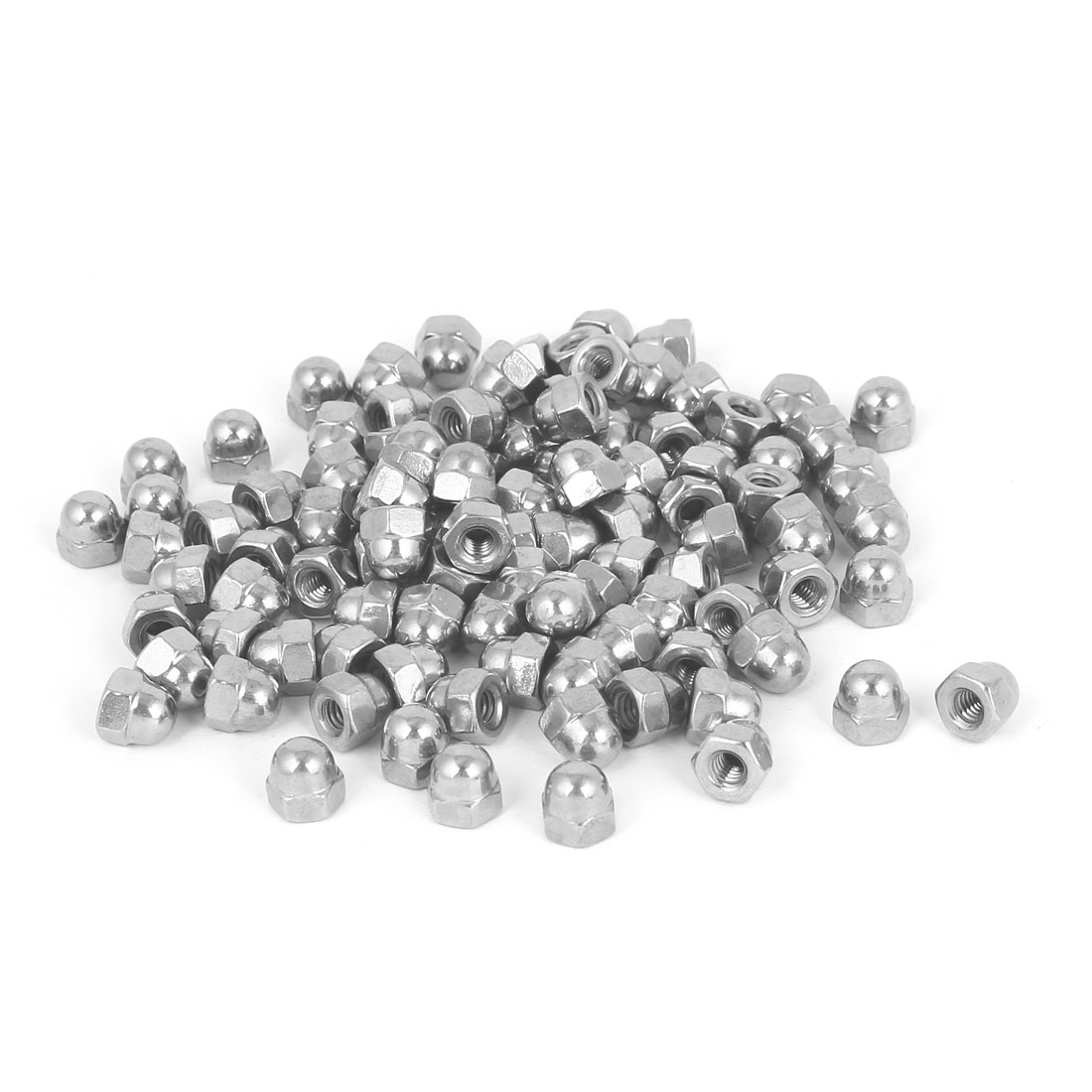 8#-32 304 Stainless Steel Dome Head Cap Hexagon Nuts Silver Tone 100pcs