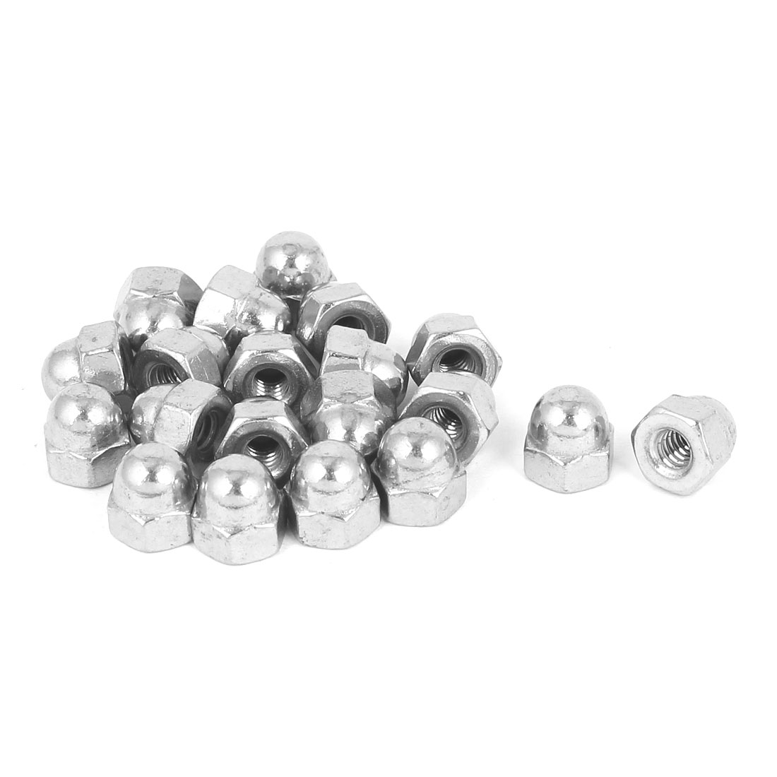 10#-24 304 Stainless Steel Dome Head Cap Hexagon Nuts Silver Tone 20pcs